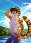anthro black_hair brown_hair cheetah clothed clothing day detailed_background feline fur hair imanika male mammal outside sky smile spots spotted_fur standing sun topless yellow_eyesRating: SafeScore: 1User: MillcoreDate: June 22, 2017