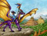 2017 anthro claws day detailed_background dragon duo feral holding_object horn lizard melee_weapon membranous_wings natoli outside polearm purple_skin reptile scalie sky smile spear traditional_media_(artwork) weapon wingsRating: SafeScore: 5User: MillcoreDate: November 23, 2017