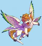 blonde_hair blue_background blue_eyes claws dragon fangs feathered_wings feathers feral flammie flying hair happy looking_at_viewer mana_(series) multicolored_feathers open_mouth pink_tongue scalie secret_of_mana short_hair simple_background solo tongue video_games white_feathers wings