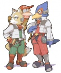 anthro avian baseball_cap beak beige_skin big_eyes bird blue_feathers boots brown_fur canine clothed clothing crossover diddy_kong dipstick_tail donkey_kong_(series) duo_focus falco_lombardi feathers footwear fox fox_mccloud fully_clothed fur green_eyes group hand_on_hip hat jacket looking_aside low_res male mammal monkey multicolored_tail nemurism nintendo on_shoulder open_mouth outline primate red_feathers simple_background standing star_fox super_smash_bros tan_fur tongue video_games white_backgroundRating: SafeScore: 5User: Kitsu~Date: August 07, 2009