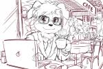 anthro background_characters business_suit cafe canine clothed clothing coronta_(tenshoku_safari) cup dog eyewear fur glasses hair macbook male mammal maruyama_(artist) napkin_holder necktie official_art saucer sketch suit tenshoku_safari