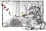 anthro arthropod autumn butterfly canine goldenwolf greyscale insect leaves magic male mammal marker_(artwork) mixed_media monochrome pen_(artwork) pencil_(artwork) solo spot_color traditional_media_(artwork) tribal were werewolf wolfRating: SafeScore: 8User: The Dog In Your GuitarDate: March 25, 2007