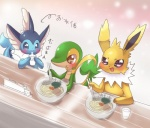 cup ecru_(artist) eeveelution feral food japanese_text jolteon nintendo noodles pokémon snivy text vaporeon video_games water