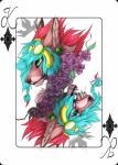 2018 black_lips brown_nose canine card digital_media_(artwork) ear_piercing green_eyes hair mammal open_mouth piercing playing_card purplesplash1372 red_hair teeth tongueRating: SafeScore: 1User: MillcoreDate: April 03, 2018