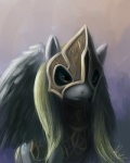 2012 armor blonde_hair cutie_mark derpy_hooves_(mlp) equine feathered_wings feathers female feral friendship_is_magic grey_feathers hair hi_res mammal my_little_pony pegasus raikoh-illust simple_background solo wings yellow_eyes