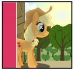 :| applejack_(mlp) black_border border cloud cutie_mark door edit equine feral friendship_is_magic grass hat horse mammal my_little_pony pony reaction_image tree white_border wide_eyedRating: SafeScore: 0User: SwiperTheFoxDate: March 28, 2017