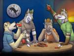 alcohol amixeduppuppy anthro beverage bong canine card card_game clock clothed clothing drinking dropping drugs fur gaming group holding_cup male mammal pile poker poker_chip raised_arm sitting smile smoke standing table tongue tongue_out window