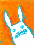 abstract_background ambiguous_gender blue_eyes ear_tuft eyefuck fur lagomorph mammal open_mouth rabbit reaction_image solo soul_devouring_eyes teeth tomhoshino traditional_media_(artwork) tuft white_fur