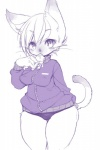 2014 anthro cat clothed clothing dessert feline female food fur hair ice_cream jacket kemono kishibe looking_at_viewer mammal monochrome panties popsicle short_hair siamese simple_background sketch slit_pupils solo standing thick_thighs underwear white_backgroundRating: SafeScore: 12User: WolfywooDate: March 31, 2017