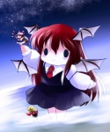 bat_wings bow brown_hair chain chibi clothing dress female hair hair_bow hair_ribbon head_wings hisou_tensoku horn humanoid koakuma long_hair membranous_wings red_hair ribbons solo suika_ibuki touhou unknown_artist wings yume_shokunin
