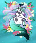 anthro big_breasts bovine breasts cattle colorful cupcakecreature eyes_closed female fish_tail hair hybrid jewelry long_hair mammal marine merfolk multicolored_hair navel necklace obese overweight pearl_necklace seashell_bra shell smile solo underwater water