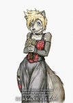 anthro blonde_hair canine clothing dress female flower fur grey_fur hair keiron_white looking_at_viewer mammal plant short_hair solo wide_hipsRating: SafeScore: 4User: ToNicDate: August 26, 2009