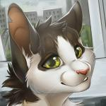 2015 ambiguous_gender anthro cat feline green_eyes headshot_portrait icon mammal notched_ear pink_nose portrait scar smile solo tril-mizzrim wayne whiskers