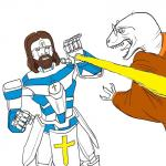 clothing cross dinosaur duo eyewear fight gandhi glasses hi_res humanoid jesus_christ laser line_art lol_comments lol_religion machine mechajesus open_mouth raptor raptorghandi religion ricedawg robe robot scalie simple_background theropod