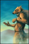 anthro belt canine casual_nudity cloud dagger desert ear_piercing kannos male mammal melee_weapon nude outside photorealism piercing sack sand scowl sky solo tattoo thief tribal weapon