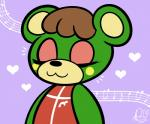 2015 :3 <3 animal_crossing anthro bear biped brown_hair bust_portrait cel_shading charlise_(animal_crossing) cheek_spot clothed clothing digital_drawing_(artwork) digital_media_(artwork) duckydeathly eyelashes eyes_closed eyeshadow female flat_chested front_view green_body hair icon makeup mammal musical_note nintendo portrait purple_background red_clothing short_hair simple_background smile solo toony two_tone_body video_games yellow_bodyRating: SafeScore: 1User: DiceLovesBeingBlownDate: June 25, 2018