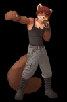 5_fingers alpha_channel anthro armpits belt black_nose boots brown_fur cargo_pants clothed clothing fist footwear front_view fully_clothed fur hair hi_res iskra konrad_zengel looking_at_viewer male mammal marten mustelid orange_eyes pants punch red_hair shirt short_hair simple_background smile solo standing tan_fur tank_top transparent_background wristbandRating: SafeScore: 10User: Hardstyle_ChrisDate: June 07, 2013