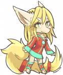 anthro blonde_hair canine cute female green_eyes hair kameloh kemono mammal simple_background smile solo standingRating: SafeScore: 2User: mylosenDate: April 23, 2018