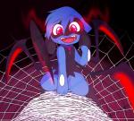ambiguous_gender angelskitty anthro arachnid arthropod blue_fur cute fur hybrid magic nintendo open_mouth pokémon pokémon_(species) red_eyes riolu solo spider spider_web tongue video_games