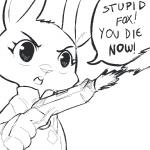 anthro buckteeth clothed clothing dialogue disney female gun judy_hopps lagomorph mammal monochrome police_uniform rabbit ranged_weapon replytoanons solo speech_bubble teeth text uniform weapon zootopia