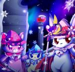<3 anthro armor blue_fur canine cat cavalier_king_charles_spaniel chest_tuft dog feline female fur garnet_(jewelpet) group hare hat hi_res jewelpet lagomorph magic_user mammal melee_weapon mrsorange persian_cat pink_fur ruby_(jewelpet) sanrio sapphie snowflake solo spaniel standing star sword tuft wand weapon white_fur winter yellow_fur