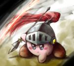 alien ambiguous_gender armor helmet kirby kirby_(series) nintendo not_furry pink_body pink_skin pose solo video_games waddling_head weapon ぎんくり