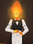 2015 bartender bow_tie clothed clothing elemental eyewear featureless_face fire fire_elemental glass glasses grillby humanoid male not_furry rottenplant simple_background solo undertale video_games
