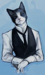 abstract_background anthro black_fur blue_eyes cat cigar clothed clothing feline fur gloves inperno looking_at_viewer male mammal multicolored_fur necktie pink_nose realistic simple_background solo suit two_tone_fur vest whiskers white_fur