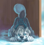 anthro ass_up butt canine dog feral hair harness hiding husky male mammal outside snow solo zambuka