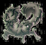 alpha_channel ambiguous_gender black_eyes canine feral fur glitching grey_fur kawiko looking_at_viewer mammal simple_background transparent_background wolf