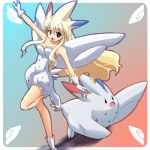alternate_species blonde_hair cosplay duo female hair heterochromia human humanized long_hair low_res mammal nintendo pokémon pokémon_trainer ranphafranboise togekiss video_games