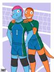 anthro bulge charmander clothing comic cover duo fuze hair hi_res male male/male nintendo pokémon pose sport totodile video_games volleyball