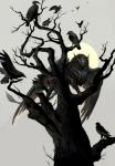 ambiguous_gender avian beak bird black_feathers dead_tree feathers feral glowing glowing_eyes group gryphon looking_at_viewer moon sandara simple_background white_background