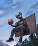 anthro basketball black_nose clothed clothing day detailed_background footwear hair holding_object hyena koul male mammal outside shoes sky solo white_hair