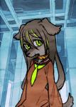 2017 5_fingers animated anthro canine clothed clothing collar detachable detachable_head dog eyebrows eyelashes female flat_chested fully_clothed green_eyes hair half-length_portrait long_hair looking_at_viewer loop low_res mammal moyamoya_kuroi portrait solo standing