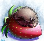 2016 abstract_background ambiguous_gender blush feral food fruit horn poof ratte ratteguhn ratteguhncat sleeping smile solo strawberry theta_(ratte)