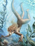 2007 anthro arthropod blonde_hair breasts bubble butt casual_nudity crawfish crustacean diving female hair kacey lake mammal marine mustelid nature nude otter outside side_boob solo swimming tasteful_nudity underwater water