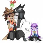 2016 anthro aquatic_dragon black_hair blush breasts brown_hair canine clothed clothing dialogue dragon english_text eyes_closed fan_character female fox freedom_planet freedom_planet_2 goshaag group hair hi_res kissing long_hair male male/female mammal mistletoe nastypoke_(character) plant purple_hair red_eyes sash_lilac shen_lei_fan simple_background text video_games white_background wolfRating: SafeScore: 3User: GooglipodDate: December 25, 2016