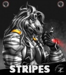 2012 5_fingers abs anthro biceps biped black_background black_hair bust_portrait character_name clothing digital_media_(artwork) equine fingerless_gloves front_view fur gloves grey_eyes grey_fur grey_stripes hair long_hair looking_at_viewer male mammal multicolored_fur multicolored_hair muscular muscular_male name_badge pecs portrait simple_background snout solo steam striped_fur stripes stripes_(character) suspenders thumbs_up two_tone_fur two_tone_hair vein white_fur white_hair zebra zorro_re