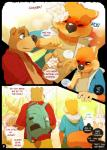 anthro backpack banjo-kazooie banjo_(banjo-kazooie) bear brown_fur clothed clothing comic conker conker's_bad_fur_day duo english_text fur group hi_res hollo_nut male mammal red_shirt rodent squirrel sweat text tree video_gamesRating: SafeScore: 7User: gaylordsteambathDate: June 14, 2017