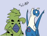 ambiguous_gender duo feral latios legendary_pokémon nintendo pokémon pokémon_(species) simple_background slap text tyranitar unknown_artist video_games