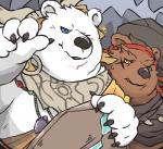 2018 anthro bear brown_fur crushfang_(sdorica_sunset) dagger_(sdorica_sunset) duo fur male mammal one_eye_closed overweight overweight_male polar_bear sdorica_sunset white_fur winkRating: SafeScore: 1User: mapachitoDate: May 25, 2018