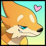 <3 ambiguous_gender blitzdrachin blue_eyes close-up floatzel fur half-closed_eyes icon mammal mustelid nintendo pokémon pokémon_(species) portrait reaction_image sharp_teeth simple_background smile smug solo teeth video_games