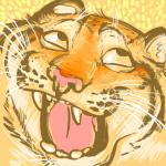 2010 abstract_background ahegao ambiguous_gender awesome_face black_fur derp_eyes feline fur happy humor kaputotter looking_pleasured low_res mammal meme multicolored_fur orange_fur pink_nose reaction_image simple_background solo stripes stripes_(tigerstripes) tan_fur teeth tiger tongue whiskers