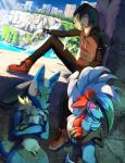 ambiguous_gender anthro autlaw blonde_hair blue_fur canine clothing crossed_arms fur gladion_(pokemon) glowing glowing_eyes green_eyes hair hoodie human lucario lycanroc male mammal midnight_lycanroc nintendo pink_eyes pokémon pokémon_(species) red_eyes red_fur video_games