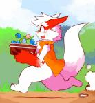 anthro band-aid bandage basket berry blush bottomless clothed clothing food fruit hi_res male mammal nintendo open_mouth oran_berry outside pecha_berry pokémon pokémon_(species) rawst_berry running side_view solo vest video_games whiteleo zangoose
