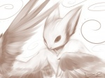 4:3 abstract_background amazing ambiguous_gender bust_portrait cute digital_media_(artwork) digital_painting_(artwork) dragon feathered_wings feathers feral fur monochrome pointy_ears portrait sepia signature simple_background solo spiral stare unknown_artist unknown_artist_signature wings wyvern