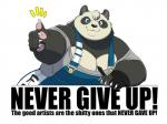 anthro bear big_breasts black_fur blue_eyes breasts claws clothed clothing english_text female fur gillpanda gillpanda_(character) looking_at_viewer mammal morbidly_obese motivational_poster multicolored_fur obese overweight overweight_female panda pawpads pen sharp_teeth simple_background smile solo teeth text thumbs_up two_tone_fur white_background white_fur