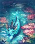 2018 ambiguous_gender blue_body blue_eyes blue_markings bubble coral detailed_background eeveelution feral fin fish_tail head_fin high-angle_view marine markings nintendo pokémon pokémon_(species) solo swimming underwater vaporeon video_games water まにの