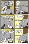 2018 anthro clothed clothing comic dialogue elephant english_text father male mammal mature_male parent ragdoll_(study_partners) son speech_bubble study_partners text thunderouserections trunk tusks young